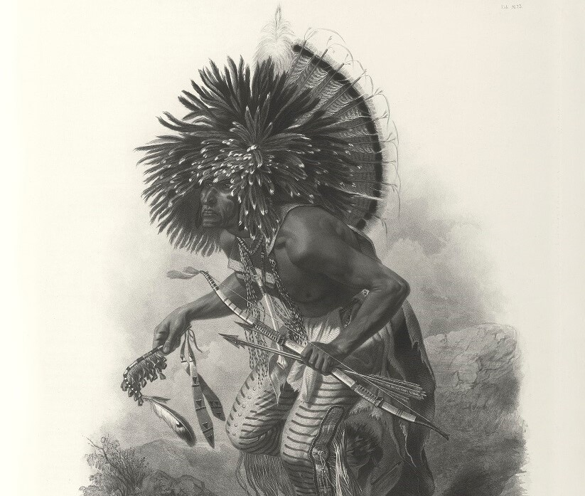 Travels into the Interior of North America - Tableau 23 - Karl Bodmer - Pehriska-Ruhpa. Moennitarri warrior in the Costume of the Dog Dance (bw) - Native American Heritage