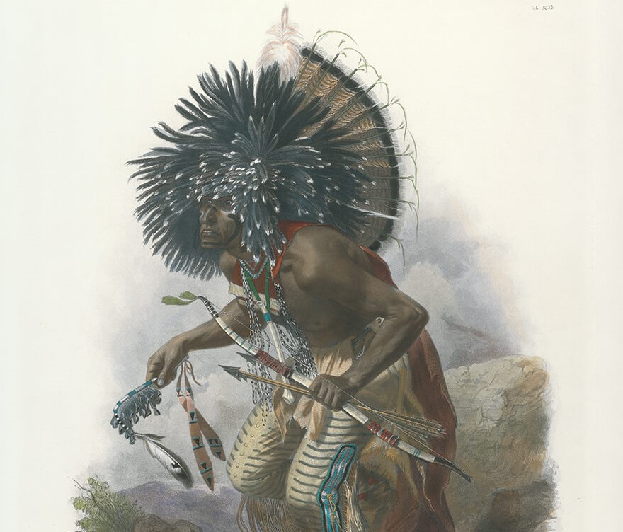 Travels into the Interior of North America - Tableau 23 - Karl Bodmer - Pehriska-Ruhpa. Moennitarri warrior in the Costume of the Dog Dance (color) - Native American Heritage