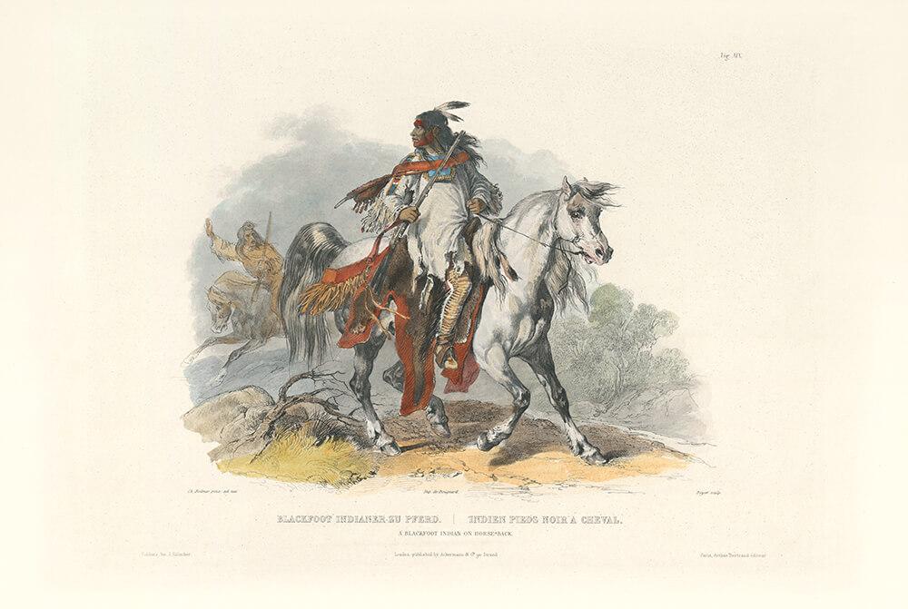 Karl Bodmer A Blackfoot Indian on Horseback Vignette 19 Native American (color)