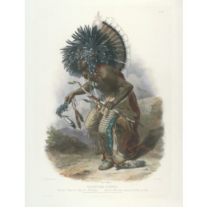 Travels into the Interior of North America - Karl Bodmer - Pehriska-Ruhpa. Moennitarri warrior in the Costume of the Dog Dance (color)