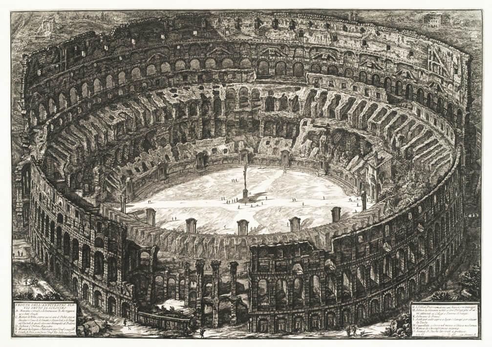 Veduta dell' Anfiteatro Flavio detto il Colosseo - Giovanni Battista Piranesi – Le Vedute di Roma – Facsimile Giclee Print