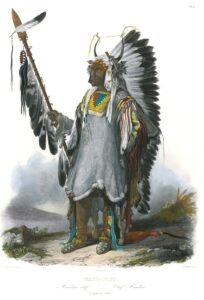 Mato-Tope, a Mandan Chief, by Karl Bodmer. Travels in the interior of North America. Taken from the original editions. Certificate of authenticity included